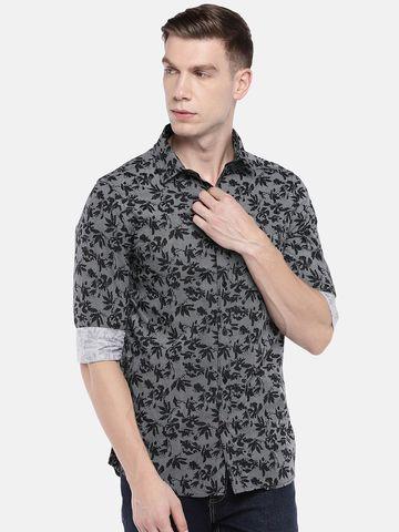 globus   Globus Black & Grey Regular Fit Printed Casual Shirt