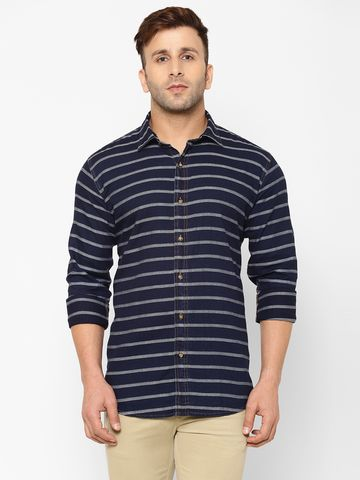 Eppe | EPPE Men's Denim Full Sleeves Smart Fit Stylish Stripes Casual Shirt