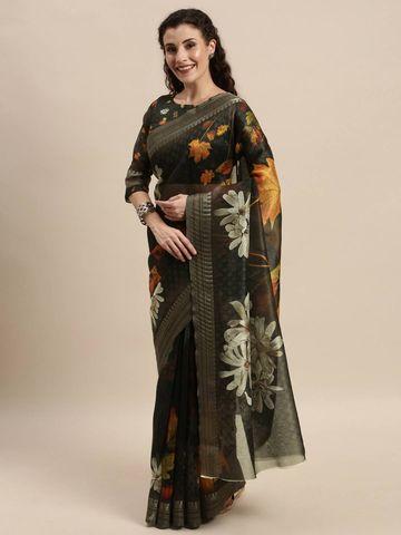 SATIMA | Women's Black Digital Floral Print Woven Saree
