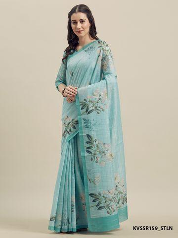 SATIMA | Satima Linen Cotton  Print & Weaving Saree