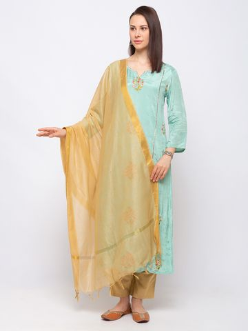 Ethnicity | Ethnicity Chanderi Straight  Women Gold Dupatta