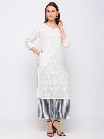 Ethnicity | Ethnicity Cotton Straight Women White Kurta