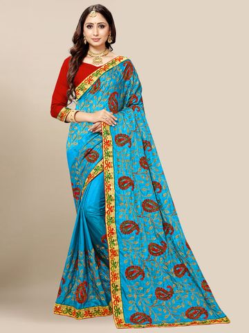 SATIMA | Women's Light Blue Embroidered Silk Blend Saree