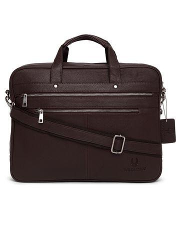 WildHorn   WildHorn 100% Genuine Leather Maroon Laptop Bags for Men