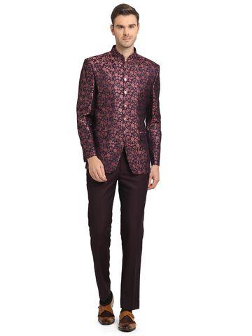 JadeBlue | Navy Blue and Purple Jodhpuri Suit