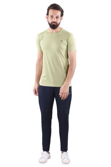 JAGURO | JAGURO  Men's Cotton Solid Round Neck Olive T-Shirt