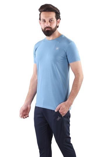 JAGURO | JAGURO  Men's Cotton Solid Round Neck SkyBlue T-Shirt