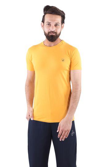 JAGURO | JAGURO  Men's Cotton Solid Round Neck Yellow T-Shirt