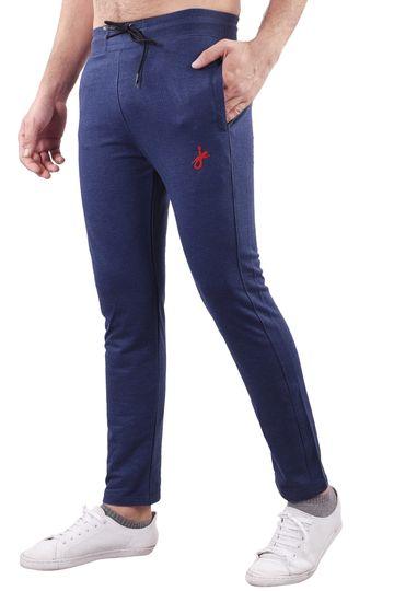 JAGURO | JAGURO Men's Cotton Solid Blue Casual Track-Pant.