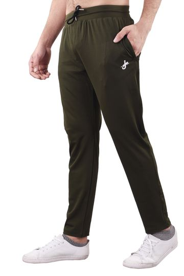 JAGURO | JAGURO Men's Cotton Solid Green Casual Track-Pant.