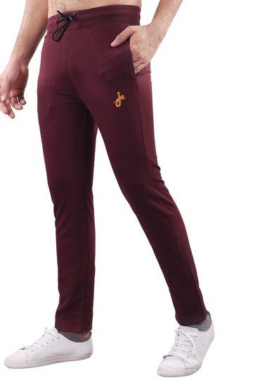 JAGURO | JAGURO Men's Cotton Solid Maroon Casual Track-Pant.