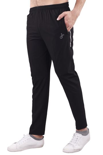 JAGURO | JAGURO Men's Polyester Solid Black Casual Track-Pant.