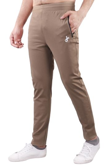 JAGURO | JAGURO Men's Polyester Solid Beige Casual Track-Pant.