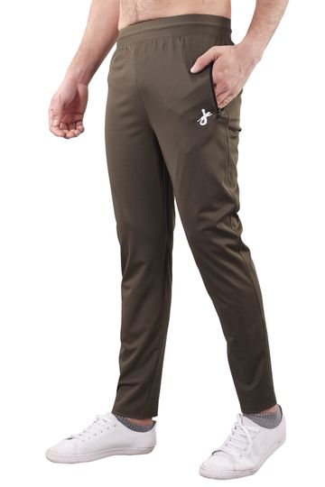 JAGURO | JAGURO Men's Polyester Solid Brown Casual Track-Pant.