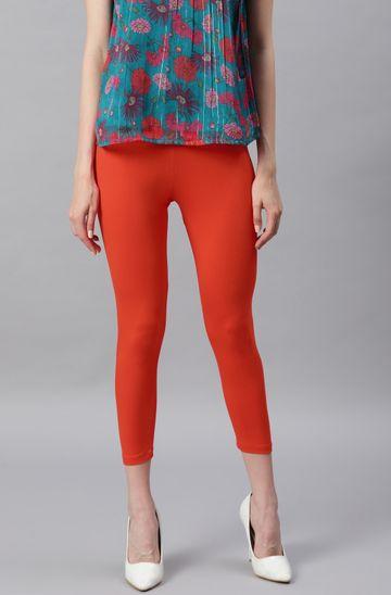 Janasya | Janasya Women's Orange Viscose Lycra Leggings