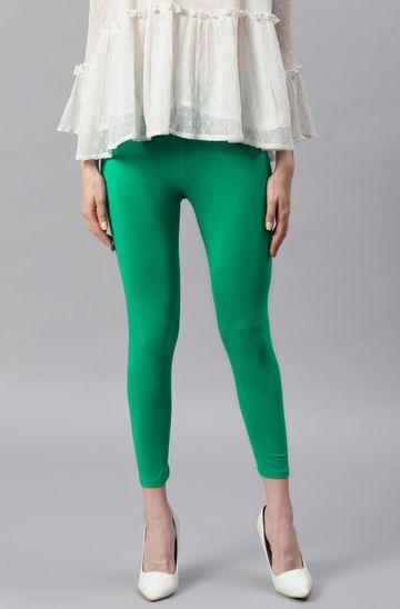 Janasya | Janasya Women's Green Viscose Lycra Leggings