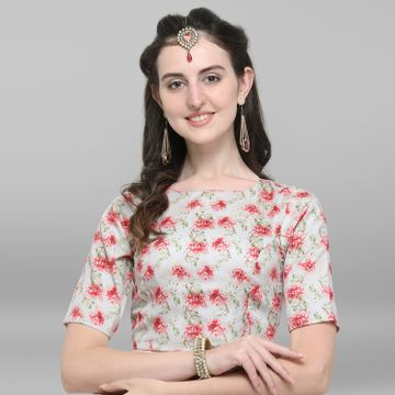 Janasya   Janasya Women's Off White Poly Silk Stitched Blouse