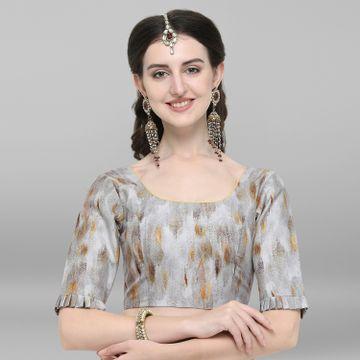 Janasya   Janasya Women's Grey Poly Silk Stitched Blouse