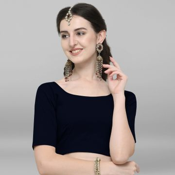 Janasya | Janasya Women's Navy Blue Cotton Stitched Blouse