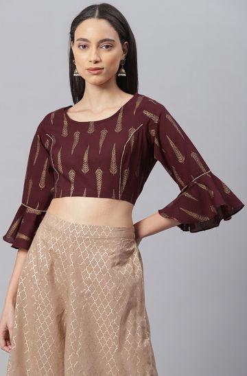 Janasya   Janasya Women's Maroon Cotton Stitched Blouse