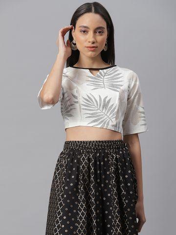 Janasya | Janasya Women's Black Cotton Stitched Blouse