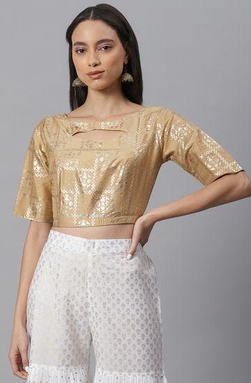 Janasya   Janasya Women's Gold Poly Silk Stitched Blouse