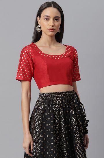 Janasya | Janasya Women's Red Poly Silk Stitched Blouse