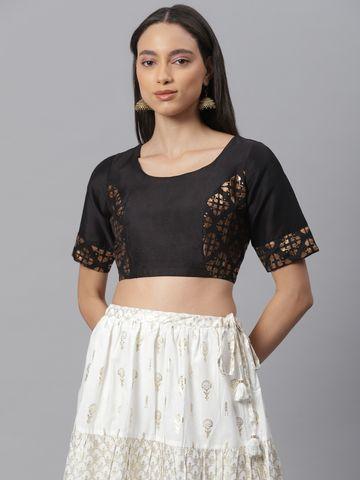 Janasya   Janasya Women's Black Poly Silk Stitched Blouse