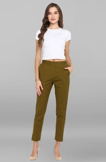 Janasya | Janasya Women's Green Pure Cotton Narrow Pant