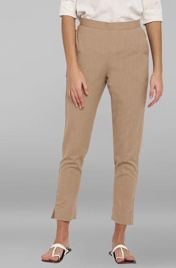 Janasya | Janasya Women's Beige Pure Cotton Narrow Pant