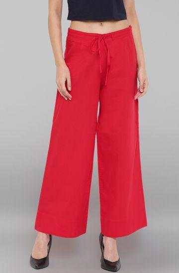 Janasya | Janasya Women's Red Pure Cotton Palazzo Pant