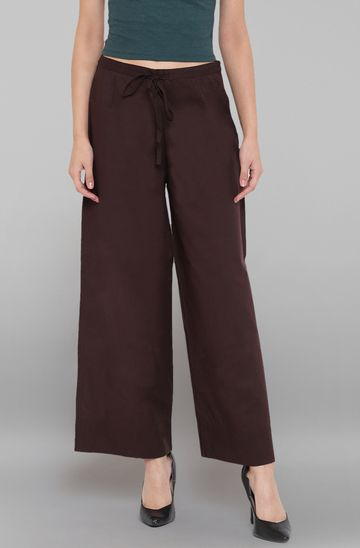 Janasya | Janasya Women's Brown Pure Cotton Palazzo Pant