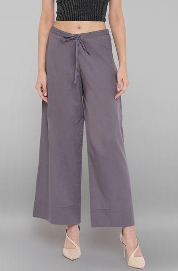 Janasya | Janasya Women's Grey Pure Cotton Palazzo Pant