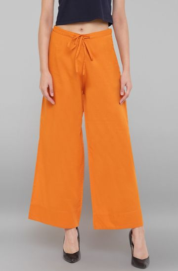 Janasya | Janasya Women's Orange Pure Cotton Palazzo Pant