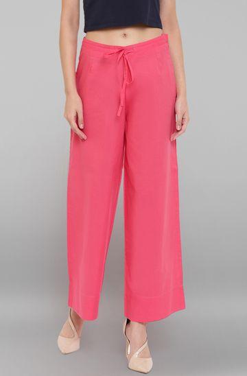 Janasya | Janasya Women's Pink Pure Cotton Palazzo Pant