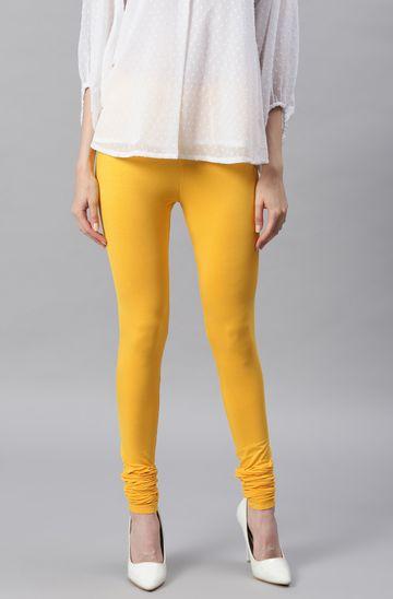 Janasya | Janasya Women's Yellow Viscose Lycra Leggings