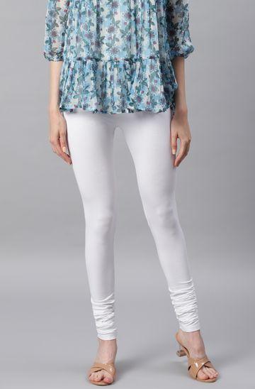 Janasya   Janasya Women's White Viscose Lycra Leggings