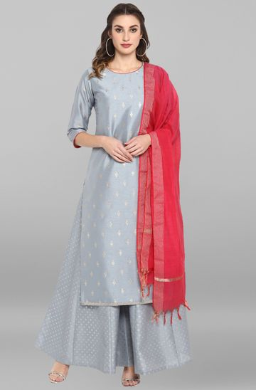Janasya | Janasya Women's Grey Poly Silk Kurta With Palazzo and Dupatta