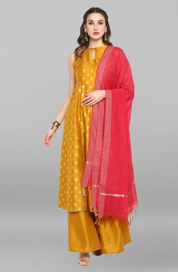 Janasya | Janasya Women's Mustard Poly Silk Kurta With Palazzo and Dupatta
