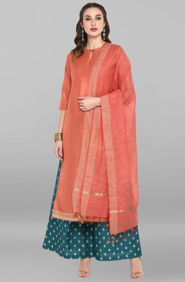 Janasya | Janasya Women's Pink Poly Silk Kurta With Palazzo and Dupatta