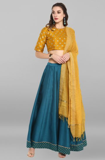 Janasya | Janasya Women's Mustard and Turquoise Green Poly Silk Lehenga Choli With Dupatta