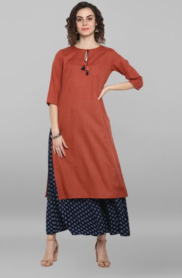 Janasya | Janasya Women's Red Rayon Flex Kurta With Palazzo