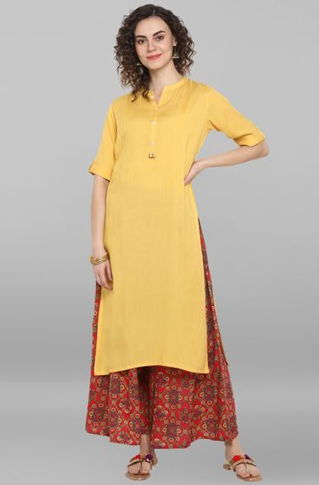 Janasya | Janasya Women's Yellow Rayon Kurta With Palazzo