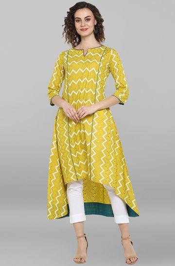 Janasya   Janasya Women's Lemon Yellow Cotton Kurta