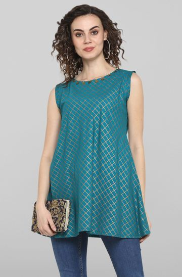 Janasya | Janasya Women's Turquoise Blue Cotton Top