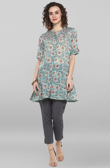 Janasya | Janasya Women's Sea Green Cotton Kurti