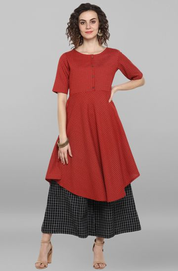 Janasya | Janasya Women's Red Cotton Flex Kurta