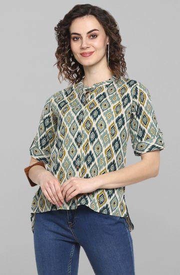 Janasya | Janasya Women's Turquoise Green Cotton Flex Top