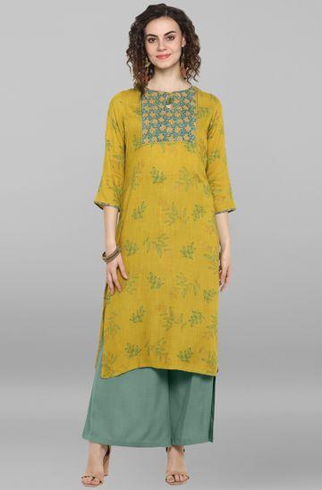 Janasya | Janasya Women's Lemon Yellow Rayon Slub Kurta
