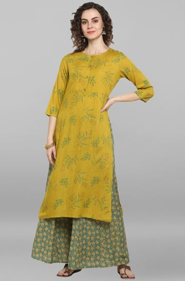 Janasya | Janasya Women's Lemon yellow Rayon Slub Kurta With Palazzo